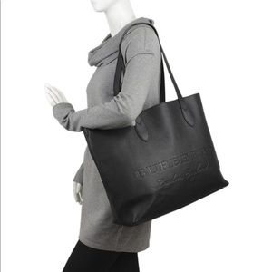 Authentic BURBERRY large black leather tote